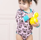Maxomorra ~ Girls pink Cats organic cotton long sleeve bodysuit