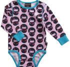 Maxomorra ~ Girls pink Geishas organic cotton long sleeve bodysuit