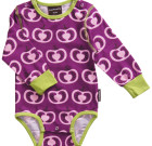 Maxomorra ~ Girls purple and pink Pomegranates organic cotton long sleeve bodysuit