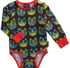 Maxomorra ~ Unisex Owls organic cotton long sleeve bodysuit
