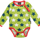 Green Stars unisex organic cotton long sleeve baby bodysuit by Maxomorra