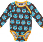 Blue owls organic cotton long sleeve vest in bright unisex Maxomorra print