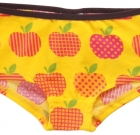 Maxomorra organic cotton hipster knickers in funky yellow apple print