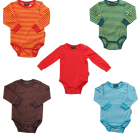 Bright unisex colours in organic cotton baby vests by Maxomorra
