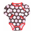 Girls pink polkadot organic cotton long sleeve bodysuit by Maxomorra