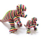 Knitted T-Rex rattle in stripes by Best Years – ethically sourced bright unisex baby gift