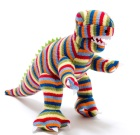 Cuddly stripy knitted T-Rex toy by Best Years – ethically sourced unisex