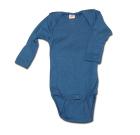 Engel ~ Merino wool and silk blend organic poppered thermal baby vests   Light Ocean blue