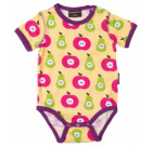 Maxomorra short sleeve apples and pears organic bright baby vest