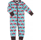 Tractors poppered romper in organic cotton from Maxomorra