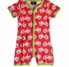 Maxomorra tractors organic bright baby shortie romper with poppers
