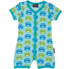 Maxomorra blue frogs organic bright baby shortie romper with poppers