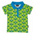 Maxomorra ~ Green birds print organic cotton polo t-shirt