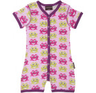 Maxomorra pink frogs organic bright baby shortie romper with poppers
