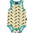 Maxomorra bees sleeveless organic poppered baby vest