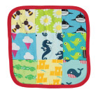 Maxomorra comfort blanket in organic cotton with whales & bees