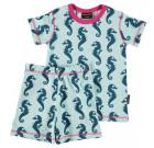 Organic cotton summer pyjamas in Seahorse print by Maxomorra