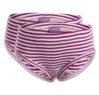Living crafts ~ Girls organic purple stripe cotton knickers – double pack