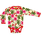 DUNS Sweden Rosehip print organic cotton long sleeve baby vest