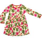DUNS Sweden Rosehip print organic cotton long sleeve twirly dress