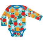 DUNS Sweden Christmas time print on blue organic cotton long sleeve baby vest