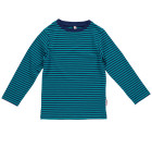 Bright turquoise striped long sleeve top in organic cotton by Maxomorra