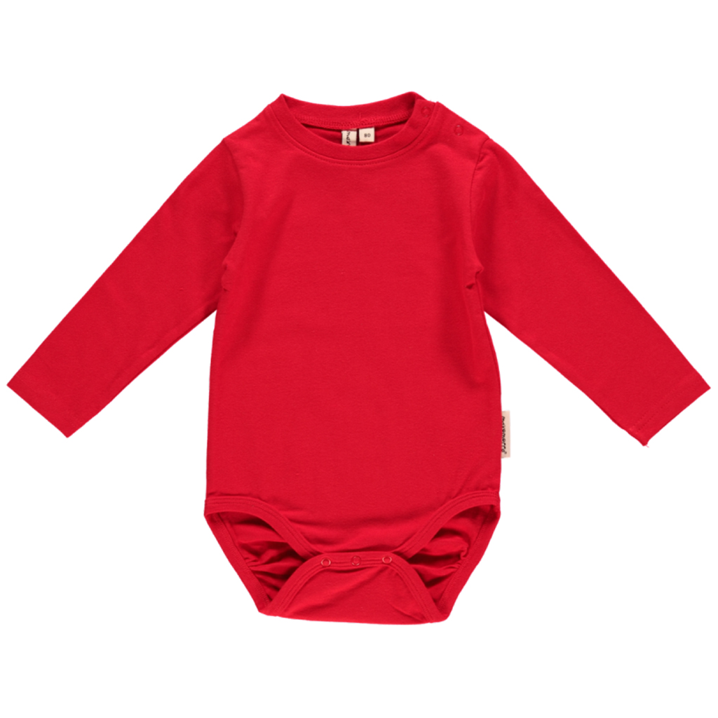 6b5861400 Bright red plain long sleeve organic baby vest by Maxomorra