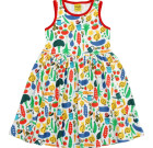 DUNS Sweden vegetable garden print organic sleeveless twirly dress
