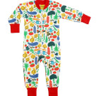 DUNS Sweden Vegetable garden print organic cotton zipped onesie