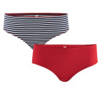 Living crafts ~ Girls organic navy blue stripe & red cotton knickers – 2 pack