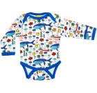 DUNS Sweden Sea print organic cotton long sleeve baby vest