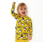 DUNS Sweden yellow puffins organic long sleeve top
