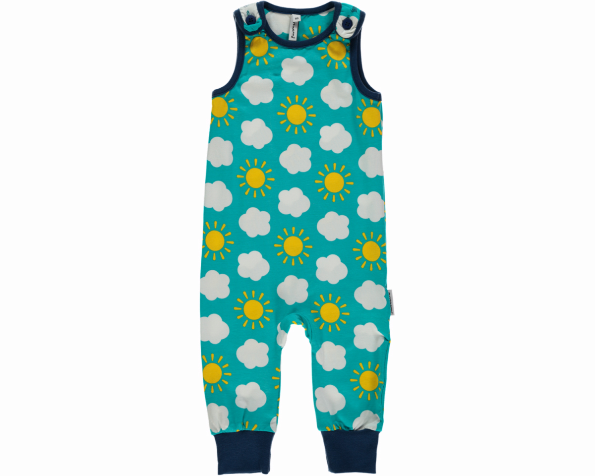 Sky Playsuit Dungarees By Maxomorra In Organic Cotton 2