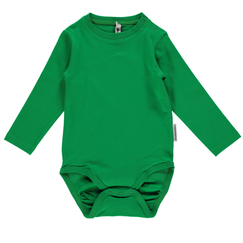 Green Plain Long Sleeve Baby Vests In Organic Cotton By