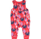 Forest dungarees by Piccalilly on red organic cotton