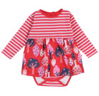 Forest baby body dress by Piccalilly on red organic cotton
