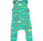 Dinosaur dungarees by Piccalilly on green organic cotton