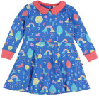Rainbow forest skater dress by Piccalilly on blue organic cotton