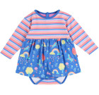 Rainbow forest baby body dress by Piccalilly on blue organic cotton