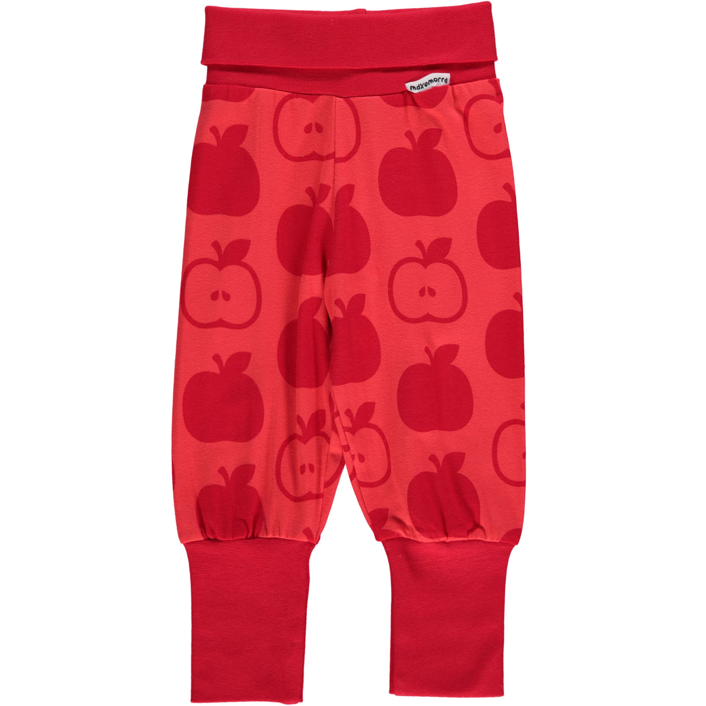 Red apple print organic cotton baggy trousers by Maxomorra ...