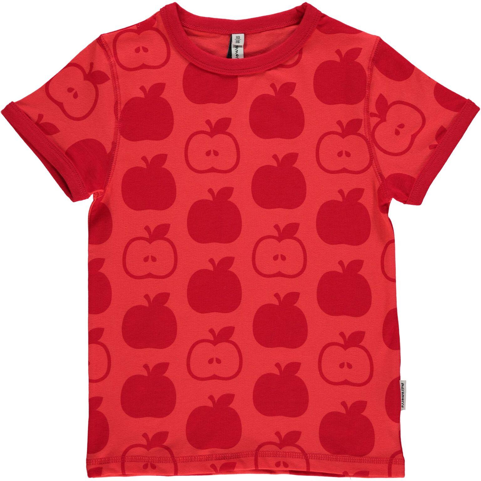 Maxomorra red apple print organic cotton short sleeve t shirt for Organic cotton t shirt printing