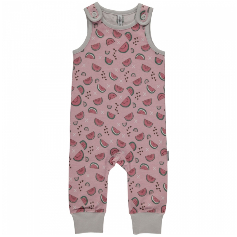b2a5091bce7 Watermelon Love print dungarees by Maxomorra in organic cotton