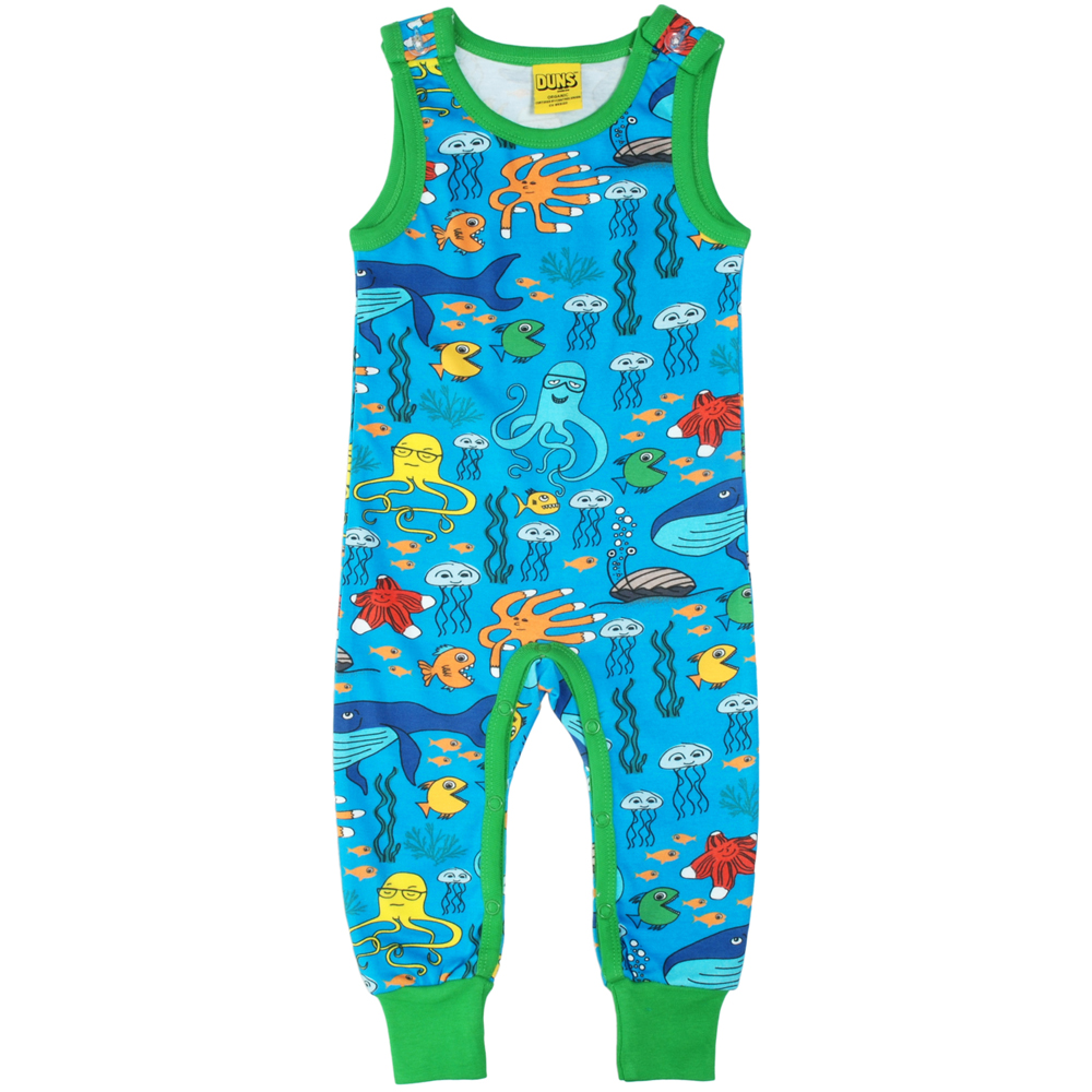DUNS Sweden sealife organic cotton dungarees on blue | Uni ...