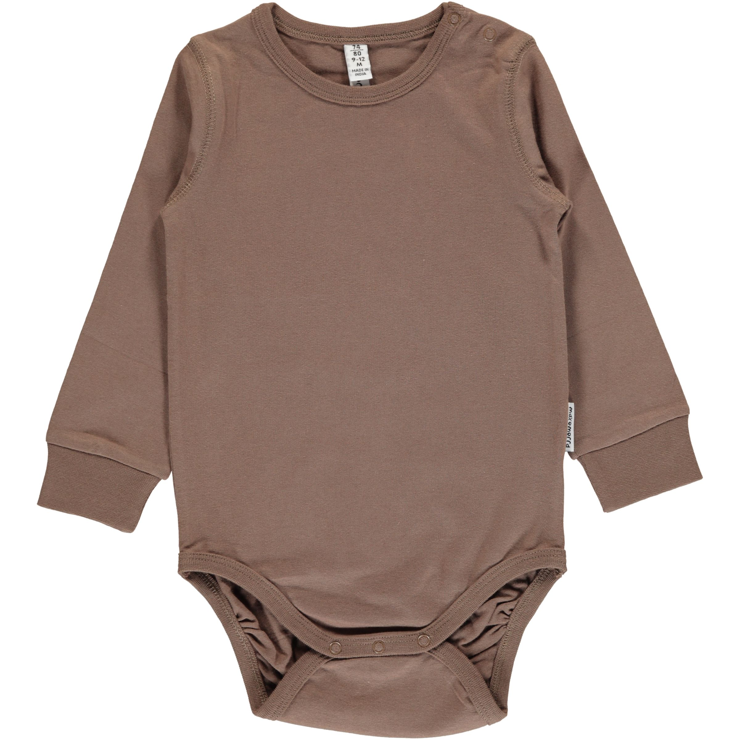0a4c23d7f Hazel brown plain long sleeve organic baby vest by Maxomorra (74 ...