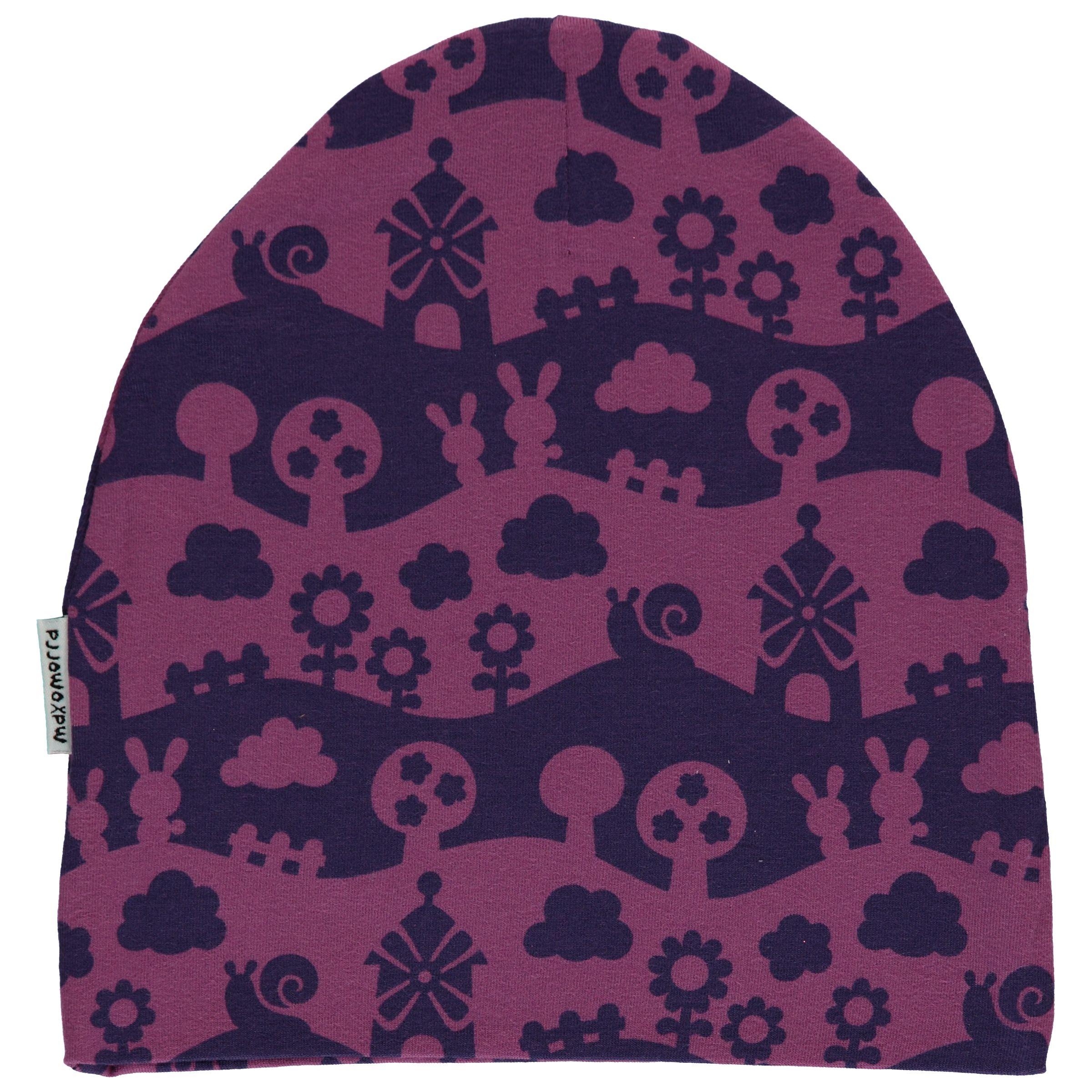 Purple landscape organic cotton beanie hat from Maxomorra Mono  8f230ddfb04