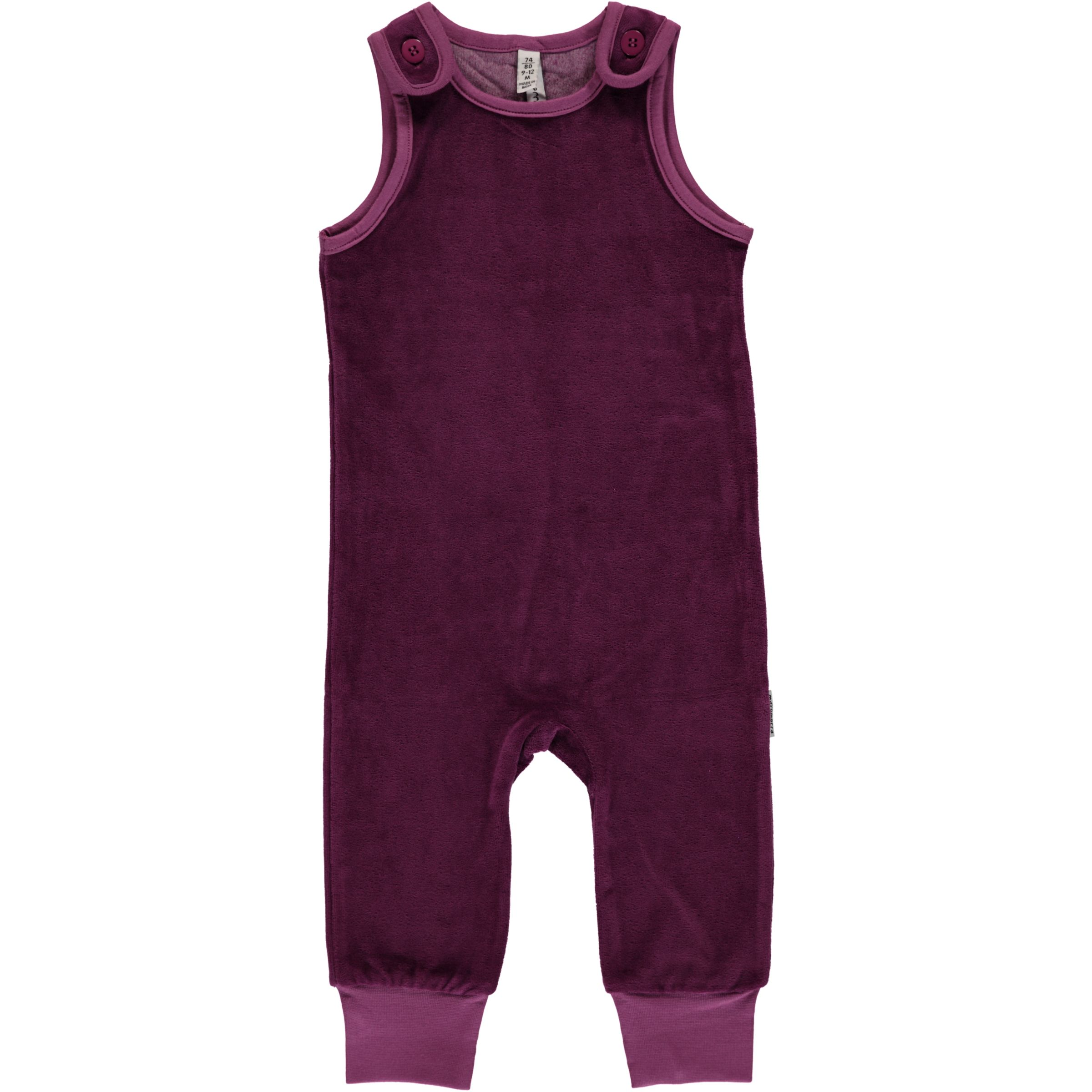 0a967659f2f Purple dungarees by Maxomorra in organic blend velour