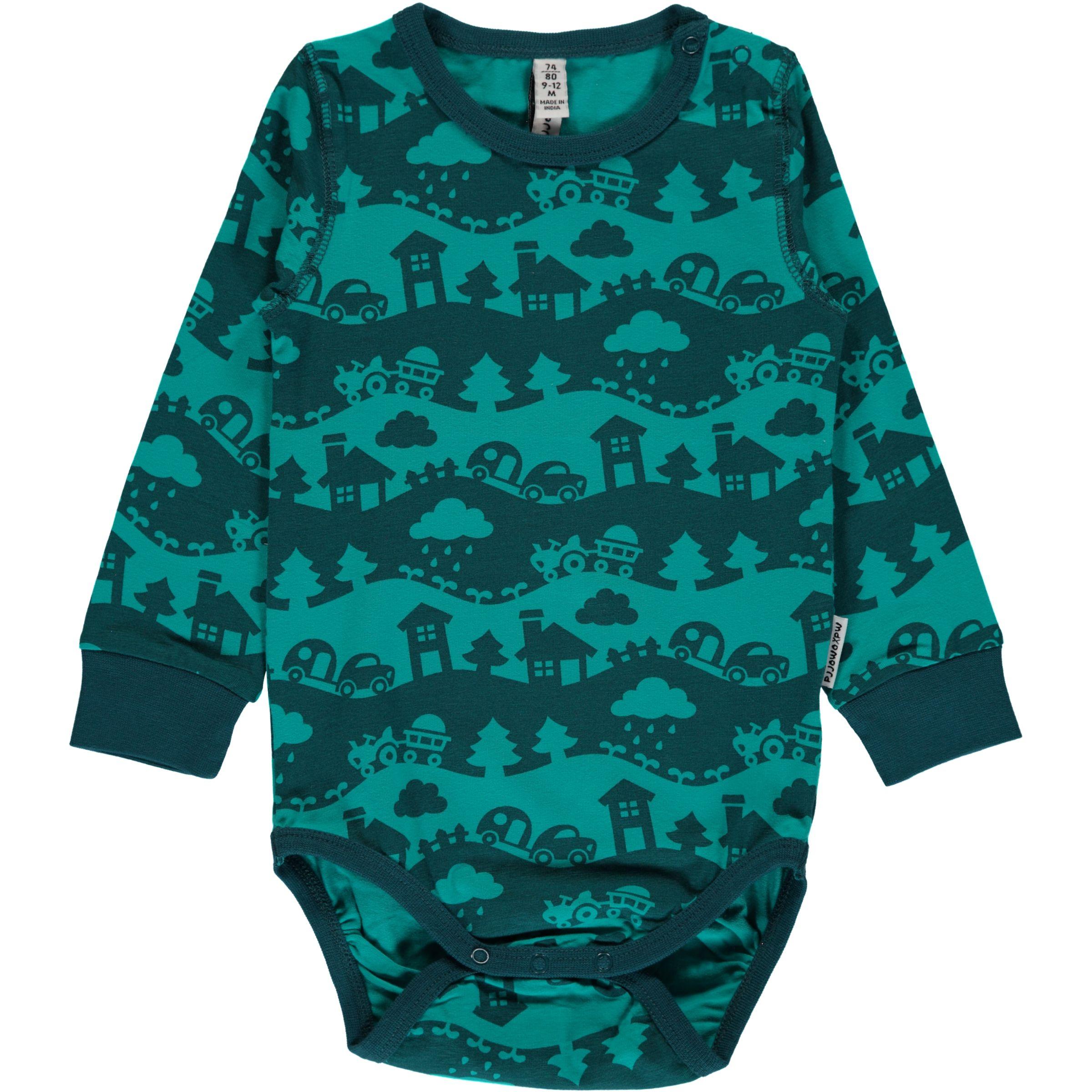 1037dd3ff4b Turquoise mono landscape organic baby vest Maxomorra (74-80cm 9-12m ...