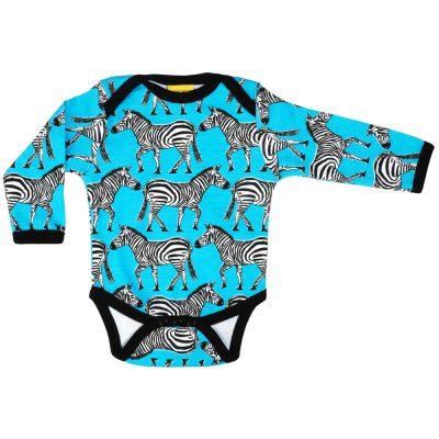DUNS Sweden turquoise zebra organic cotton long sleeve vest 55d7fcffd7e4