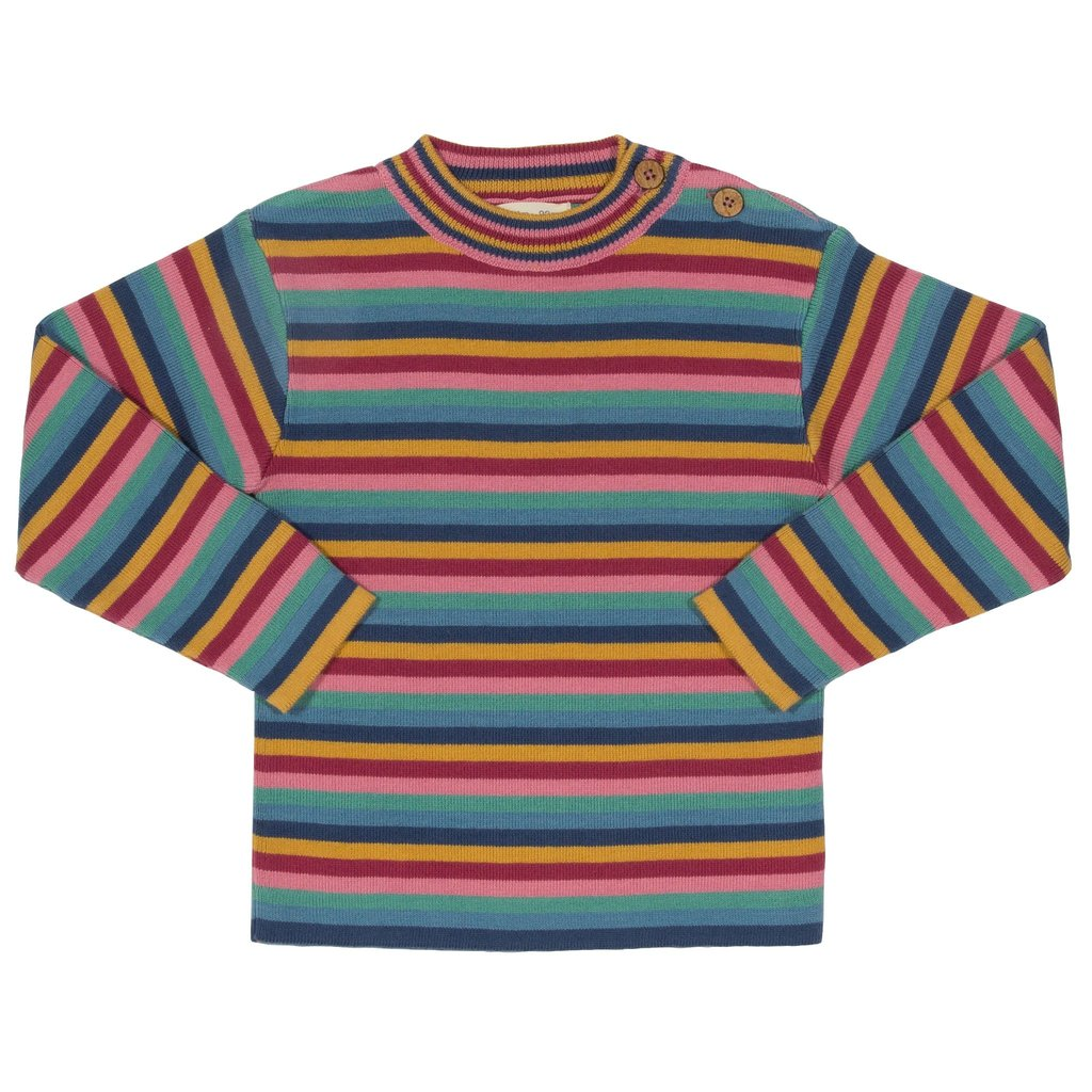 Rainbow Stripe Jumper In Knitted Rib Organic Cotton By