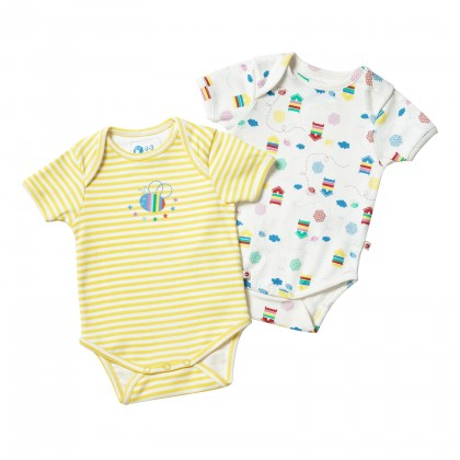 4b8a75c11a5 Beehive baby vest by Piccalilly in organic cotton (2 pack)